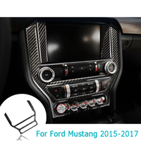 For Ford Mustang 2015 2017 Carbon Fiber Central Control Air Conditioning CD Panel Cover Trim Sticker Car Styling Accessories