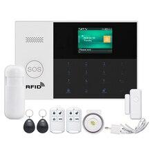 Home Burglar Security Alarm System Sensor WIFI SIM GSM RFID for IOS Android APP Remote Control EU Plug