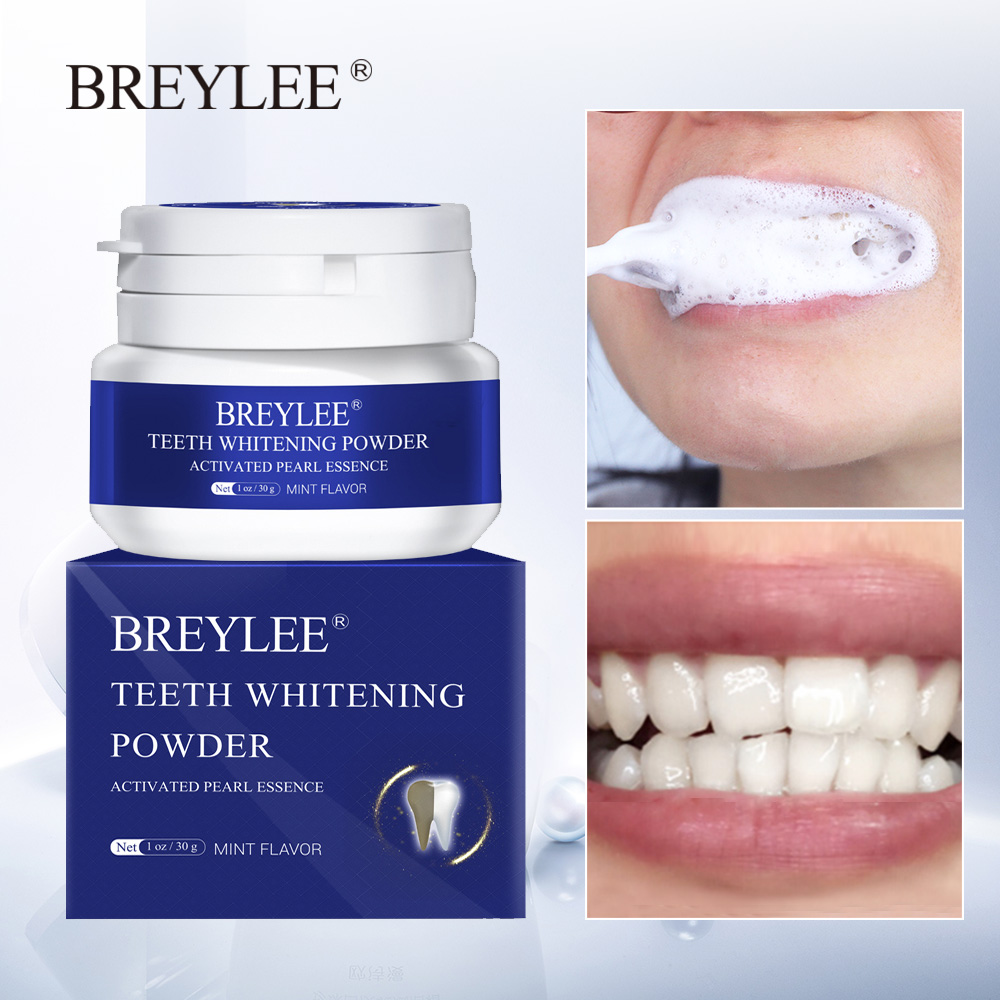 BREYLEE Teeth Whitening Powder Toothpaste Remove Plaque Stains Bleaching Dental Tools Oral Hygiene White Toothbrush Cleaning 30g