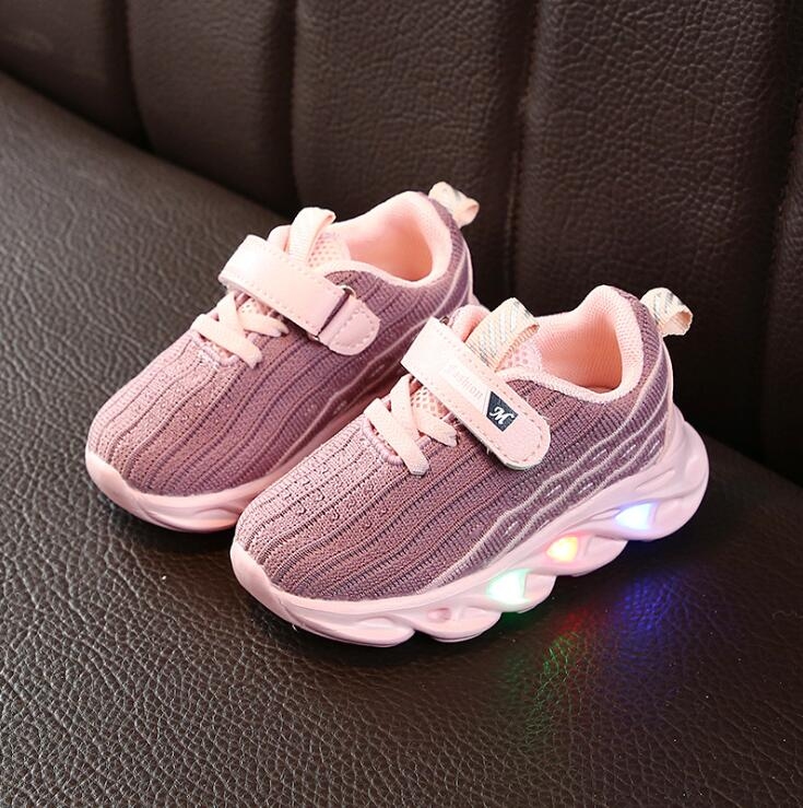 Girls Boys Mesh Sneakers Children Kids Shoes Led Luminous Sport Sneakers Baby Children Kids Casual Shoes