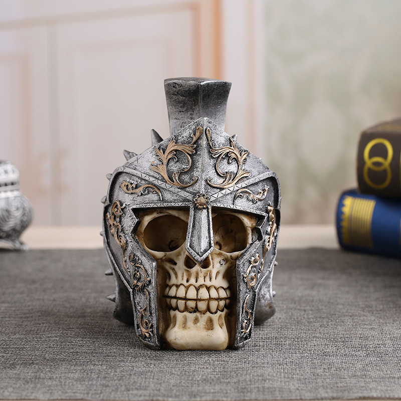 Funny Halloween  Ancient Roman Warrior Helmet Skull Figure Creative Tricky Resin Craft Collect Horror Decoration Gag Gifts Toy