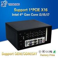 Yanling New Intel Core I3 4160 I5 4460 I7 4770 Industrial Desktop Mini PC With Fan Support Nvidia Discrete Graphics and PCIE X16