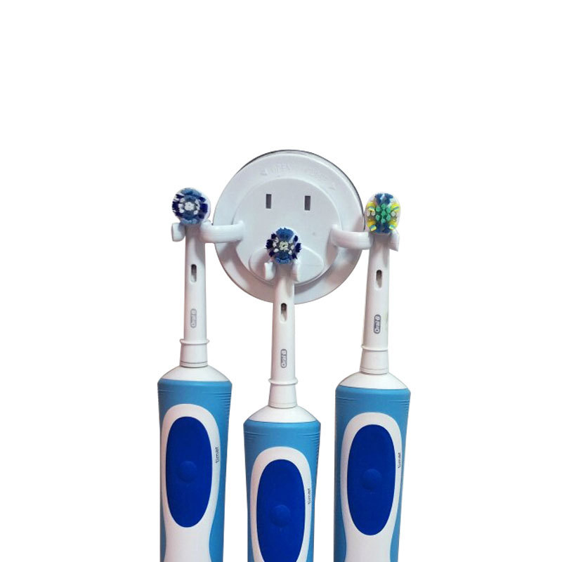 Electric Toothbrush Holder Shaver Organizer Bathroom Suction Hooks Wall Mount Tooth Brush Stand Rack Holder Space Saving image