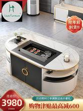 Luz de luxo automático inteligente mesa mesa mesa de café sala estar mesa rocha multifuncional kung fu chá