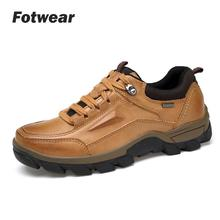 Fotwear Men shoes Leather Outdoor Hiking Climping Walking Protect foot Soft Rubber Outsole Release shock Tough man style