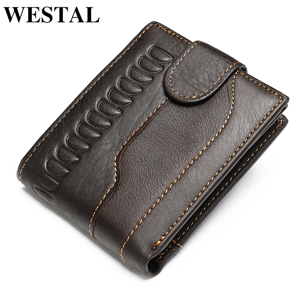WESTAL Men's Wallet Genuine Leather Vintage Crocodile Pattern Purse For Men's Card Holder Coin Purse Money Slim Wallet Short 703