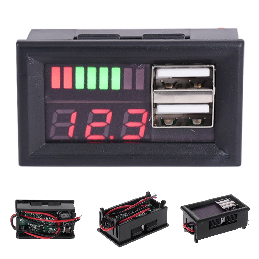 <font><b>12V</b></font> Durable Spannung Batterie Panel Niedrigen Wärme Led Stecker Digital Display Multifunktionale Auto <font><b>Voltmeter</b></font> Meter Motorrad <font><b>Dual</b></font> <font><b>USB</b></font> image