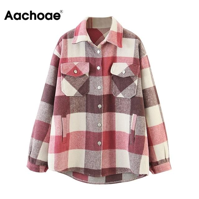 Aachoae – Veste en laine ample et décontractée à carreaux pour femme, col rabattu, moderne, manteau d'automne avec poche, manches longues, de différentes couleurs 5