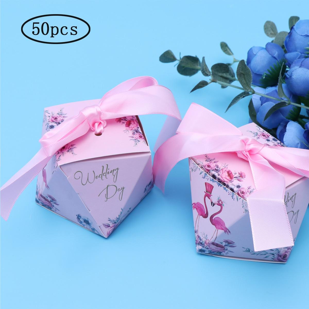 Boîte à bonbons cadeau de mariage 50pcs en forme de diamant boîtes à bonbons flamant rose porte-bonbons chocolat cadeau traiter boîtes faveurs de fête de mariage