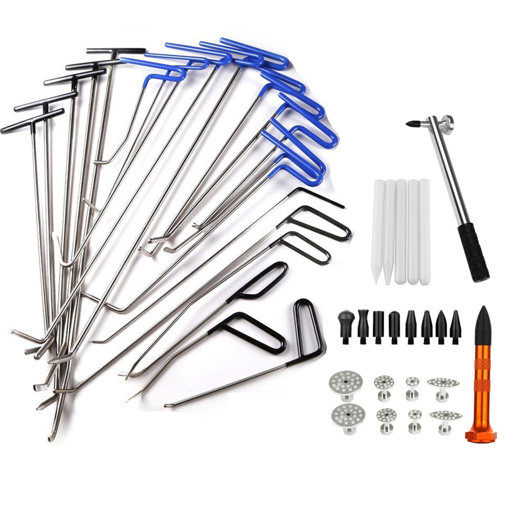 PDR Tools Paintless Dent Repair Kits Hail Ding RemovalHook Push Rod Hooks Crowbar Dent Removal Tools For Hail Damage Puller Tabs