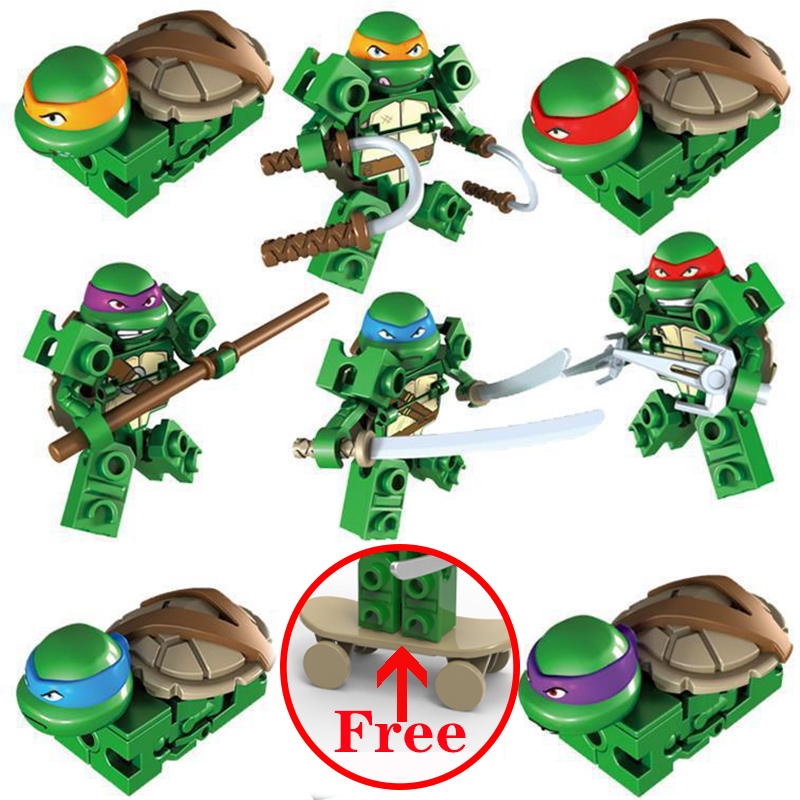 Buy One Free One Leonardo Raphael Michelangelo Donatello Turtles Cartoon Character Building Blocks Compatible For Child