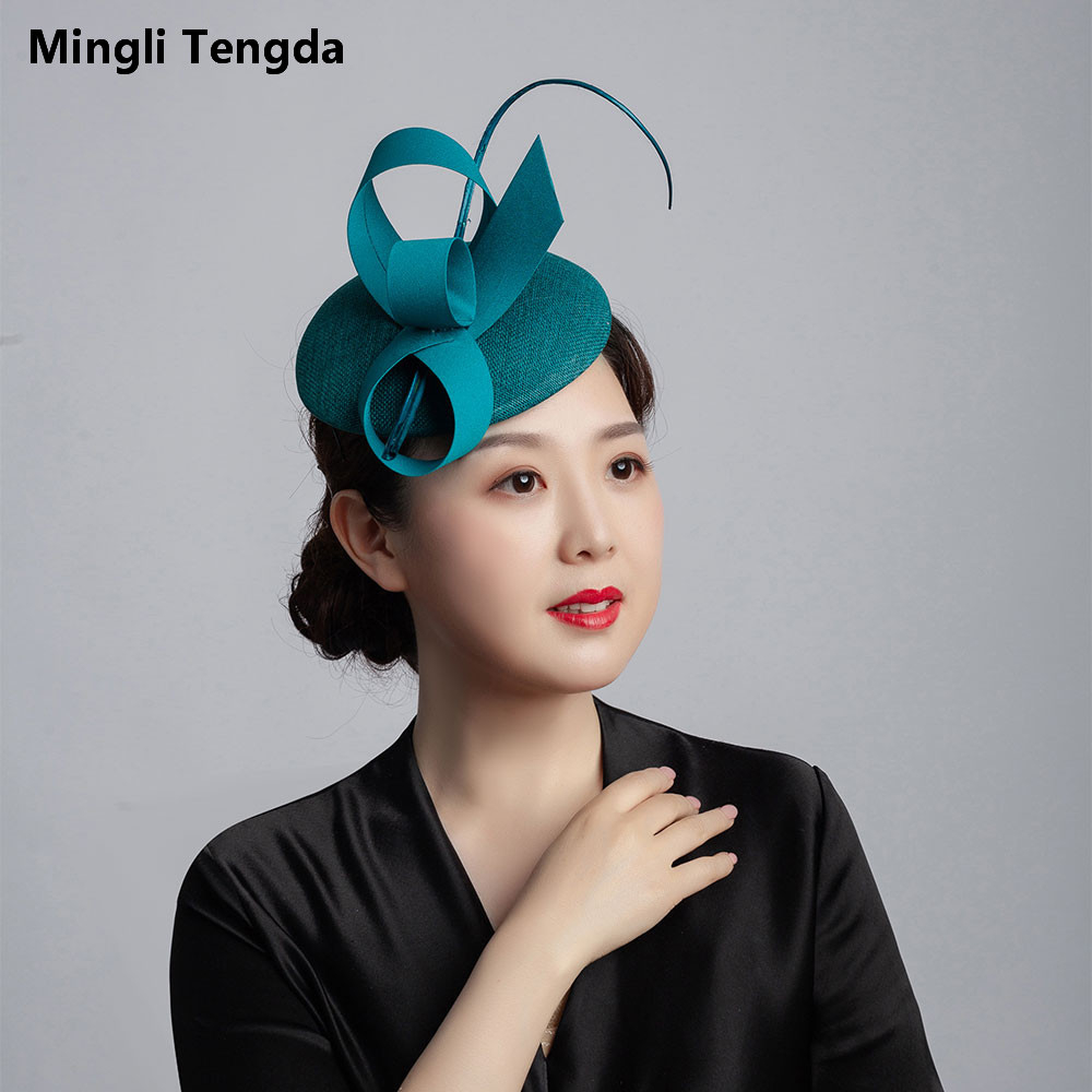 Mingli Tengda Bride Hemp Blue Green Yarn Hat Feather Wedding Accessories Elegant Lady Hat Headdress Headwear Teal Tiara Birdcage