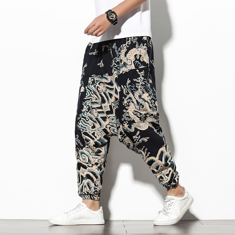 Men Traditional Style 2020 Summer Dragon Printed Casual Cotton Harem Pants Korean Style Loose Hip Hop Streetwear Male Trouser