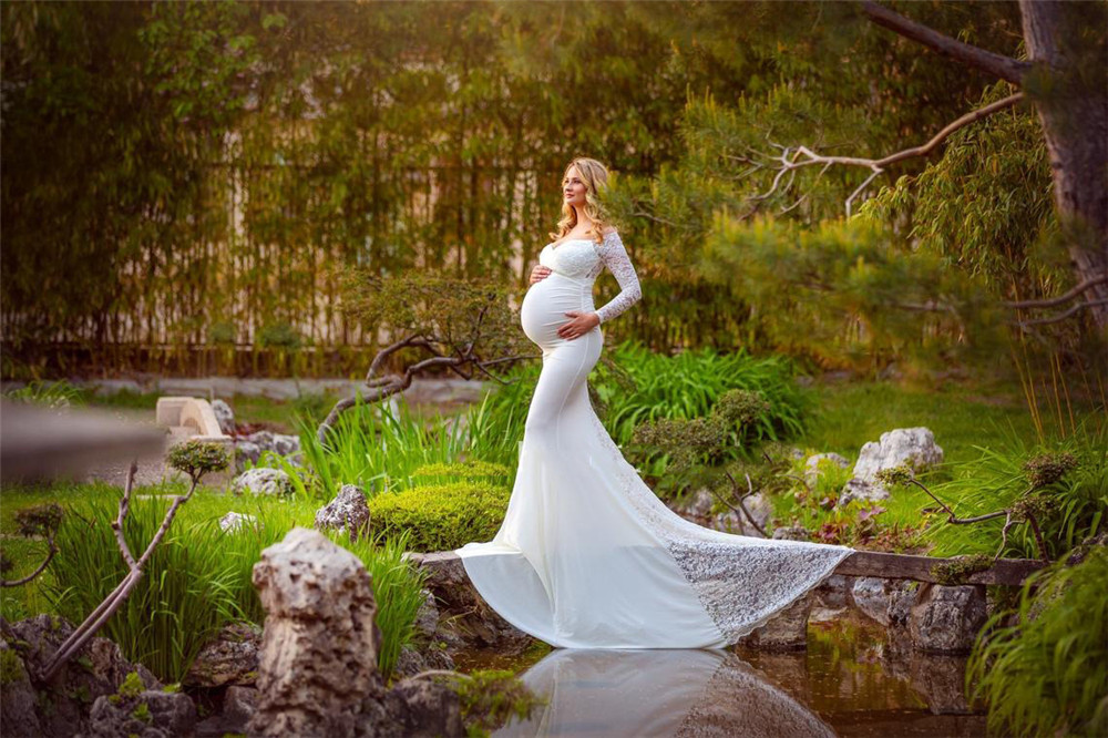 Sexy Lace Maternity Dresses For Baby Showers Photo Shoot Long Fancy Pregnancy Maxi Gown Elegence Pregnant Women Photography Prop (1)
