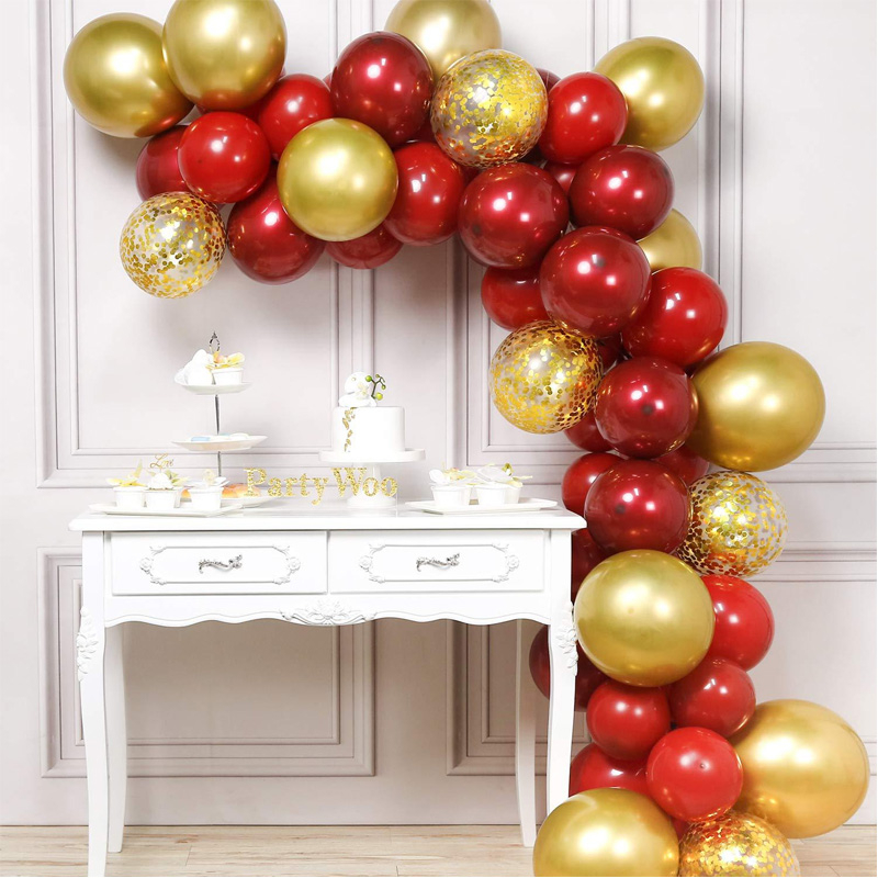 Macaron Balloons Arch Kit Pastel Red Gold Balloons Garland Metallic Confetti Globos Wedding Birthday Party Decoration Toys 50pcs
