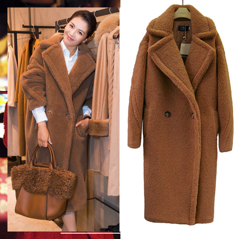 Teddy Bear Overcoat Faux Fur Coat Winter Thick Warm Sheepskin Coat For Women Long Pockets Plus Size Coat Female Plush Outwear