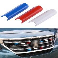 3 шт. пластиковая Автомобильная Передняя решетка гриль крышка отделка Флаг Франции цвет подходит для peugeot 301 4008 308 408