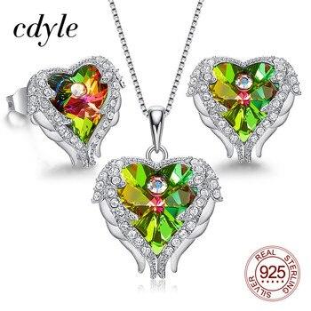 Cdyle Retro traje joyería alas de Ángel collar pendientes Set con cristal de oliva en forma de corazón colgante bijoux femme ensemble