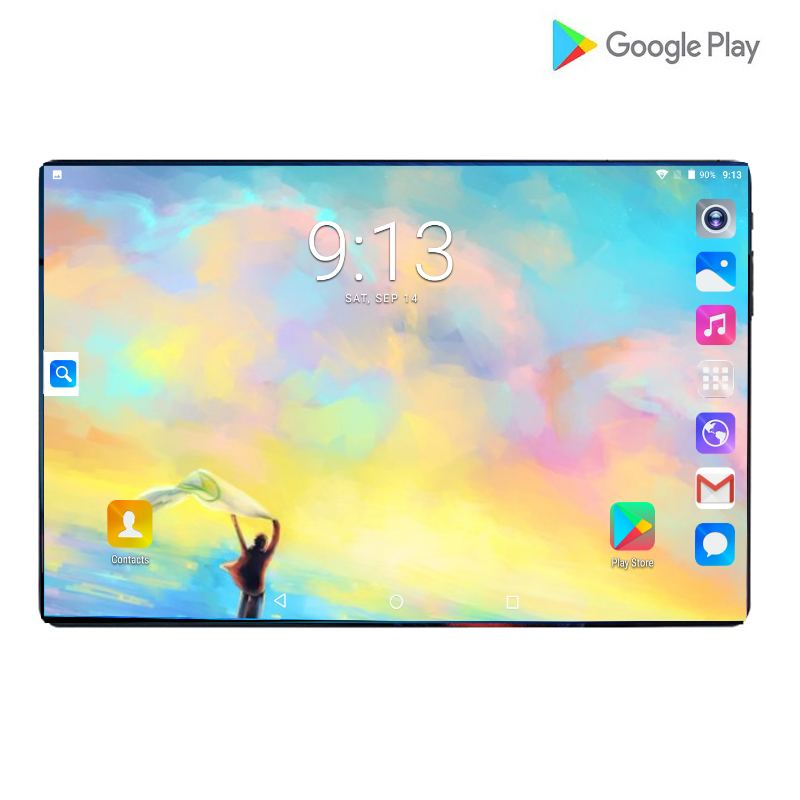 Hot Super 2.5D 10inch Tablet PC Octa Core 6GB RAM 64GB ROM Android 9.0 WiFi GPS Dual SIM 3G 4G Network Phone Call Pad 10.1+Gifts