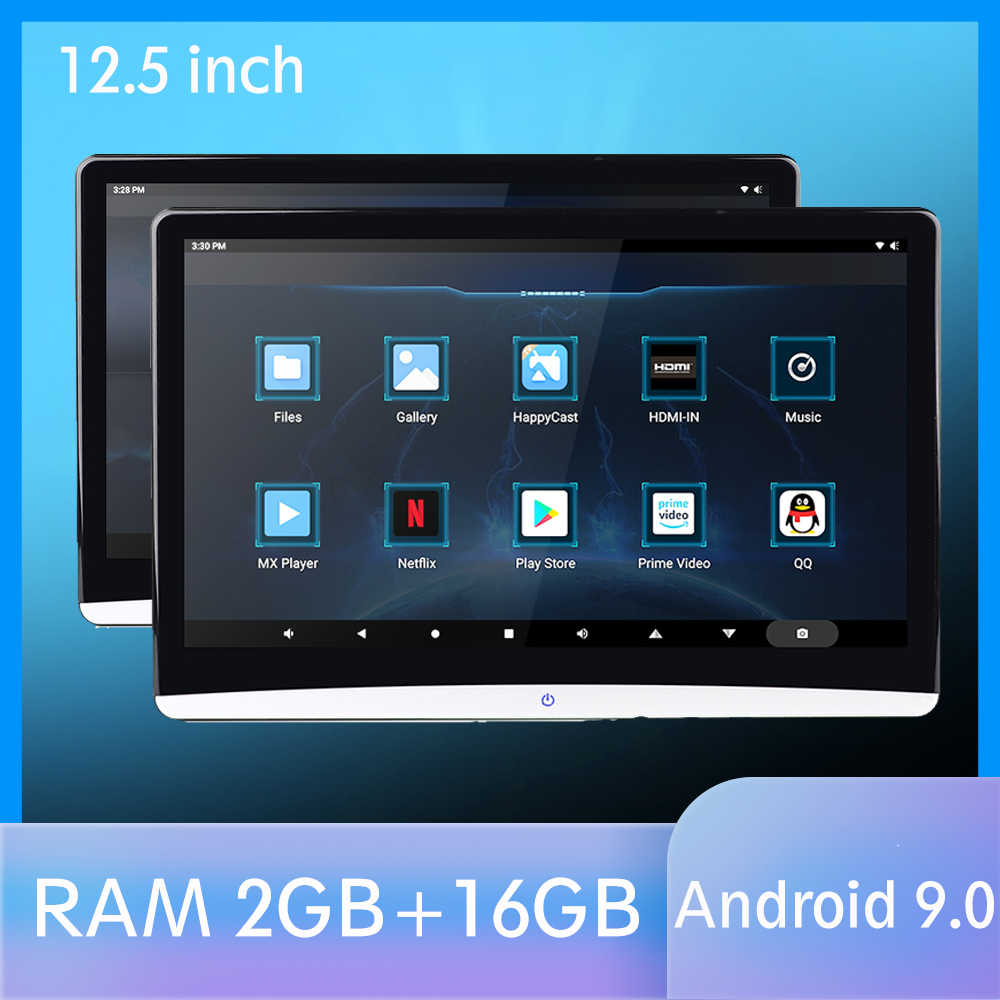 12.5 Inch Android 9.0 Mobil Headrest Monitor 1920*1080 HD 1080P Video IPS Sentuh Layar Wifi Bt USB SD HDMI FM MP5 Video Player