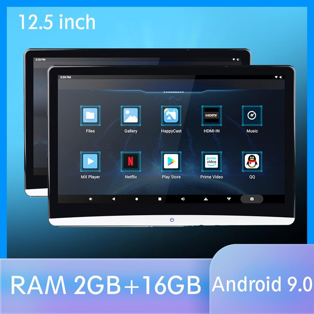 12.5 Polegada android 9.0 monitor de encosto de cabeça do carro 1920*1080 hd 1080 p vídeo ips tela sensível ao toque wifi bt usb sd hdmi fm mp5 player vídeo