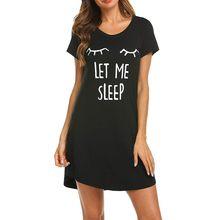 Os olhos dos desenhos animados imprimir camisola feminina sleep tops manga curta vestido de dormir sukienka damska noite solta vestido feminino