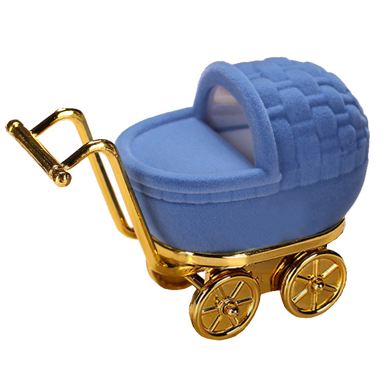 Baby Stroller Shape Velvet Jewelry Storage Box Wedding Ring Display Case