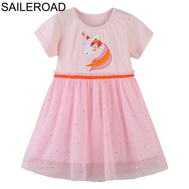 SAILEROAD Girls Mesh Dress For Girls Voile Party Dress Unicorn Dress For Kids Clothes Cotton Animal Applique Children's Dresses