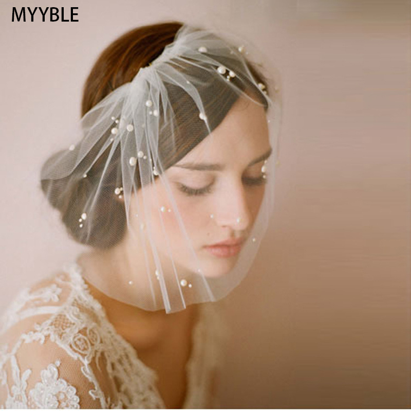 White Tulle Blusher Veil Pearls Elegant Wedding Accessories For Bride Girls One Layer Beaded Womens Bridal Veils Voile Mariage