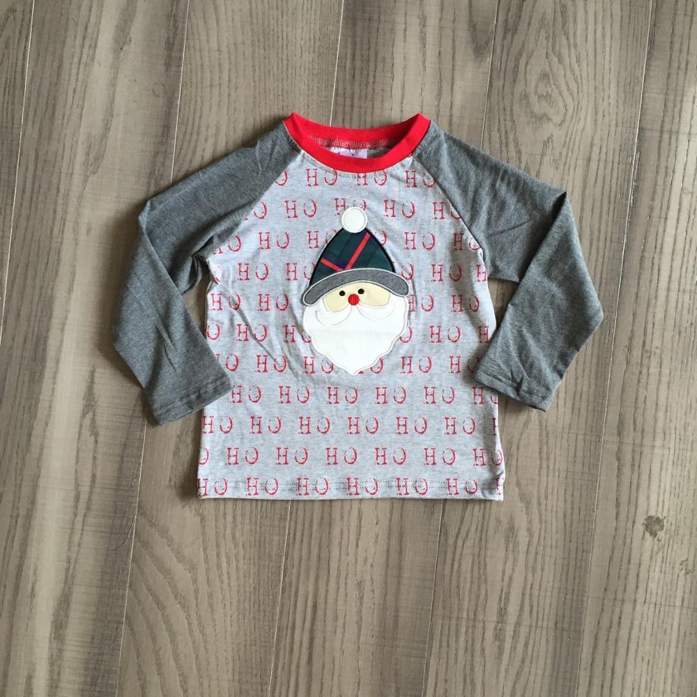 Girlymax Christmas Fall/Winter baby Boys Santa Claus Snowman Camo Plaid boutique t-shirts clothes cotton top raglans long sleeve 6
