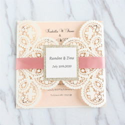 Romantic Heart Invitation Card Wedding Engagement Nude Pink Insert Pearl Paper Customized Printing 50pcs