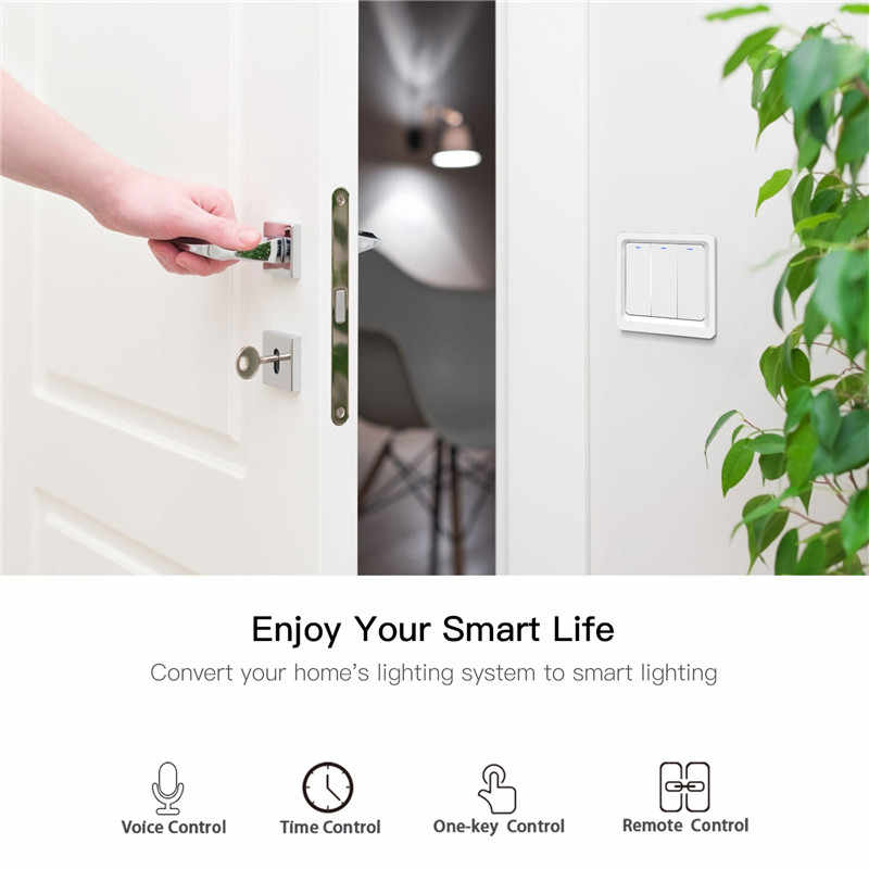 WiFi inteligentny włącznik światła przycisk Smart Life/Tuya pilot aplikacji działa z Alexa Google Home do sterowania głosem 1/2/3 Gang