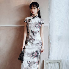 New Traditional Print Floral Ladies Qipao Rayon Slim Long Cheongsam Elegant Woman Casual Dress Vintage Vestidos Size S-4XL(China)