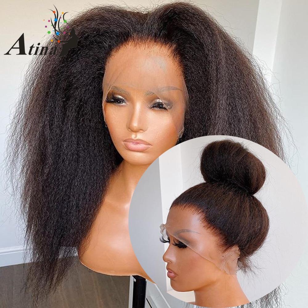 Парик Atina 360 на сетке с фронтальной сеткой, предварительно выщипанные Детские волосы, курчавые прямые HD-кружева, 250 плотные передние парики и...