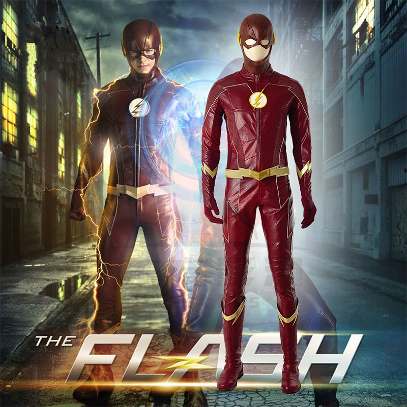 <font><b>Flash</b></font> Season 4 <font><b>Barry</b></font> <font><b>Allen</b></font> <font><b>Flash</b></font> Cosplay <font><b>Costume</b></font> Men <font><b>Flash</b></font> <font><b>costume</b></font> red Carnival Halloween <font><b>Costumes</b></font> for adult image