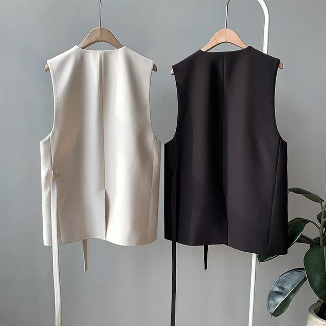 GOPLUS Autumn Vest Women Vintage V-neck Double Breasted Short Loose Vests Womens Chalecos Para Mujer Kamizelka Damska C8261 5