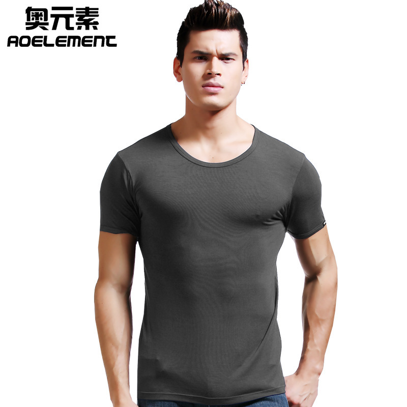 Men's Underwear Modal T-shirt Short Sleeve Summer Slim Thin Round Neck Skinny Solid Color Man Sports Bottoming Shirt