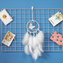2020 New White Butterfly Dream Catcher Feathers Wall Hanging Wind Chimes Pendant Car Room Decoration for Girlfriend Gifts