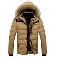 Puimentiua Men's Fur Collar Cotton Parkas Baggy Classic Warm Fashion Travel College Jackets Male Casual Thick Outerwear Coat