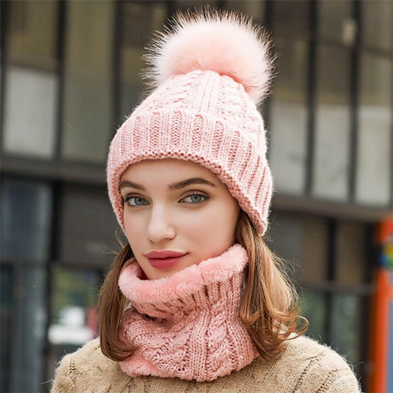 Winter Women Knitted Hat Scarf Set Girls Woman Warm Beanies Hat And Ring Scarf Female Lady Fashion Pom Pom Cap Scarves