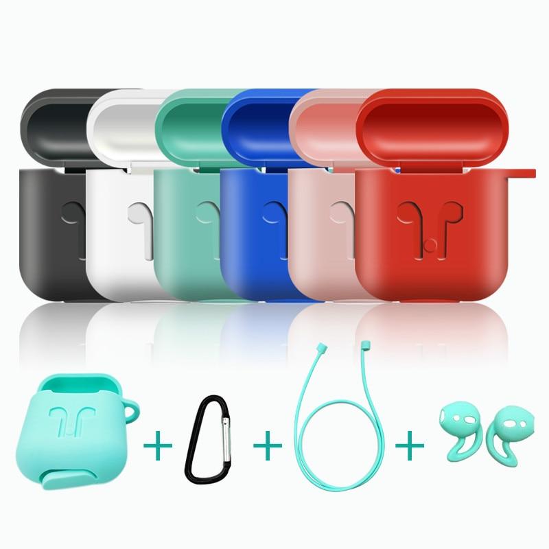 Funda de silicona 4 en 1 para auriculares, accesorios para auriculares inalámbricos con Bluetooth, antipérdida, para Apple Airpods Air Pods 1 y 2