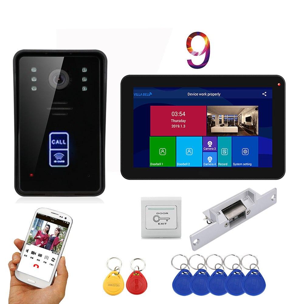 APP Control Video Intercom 9 Inch LCD Wifi Wireless Video Door Phone Doorbell RFID  Intercom KIT+NO Electric Strike Door Lock