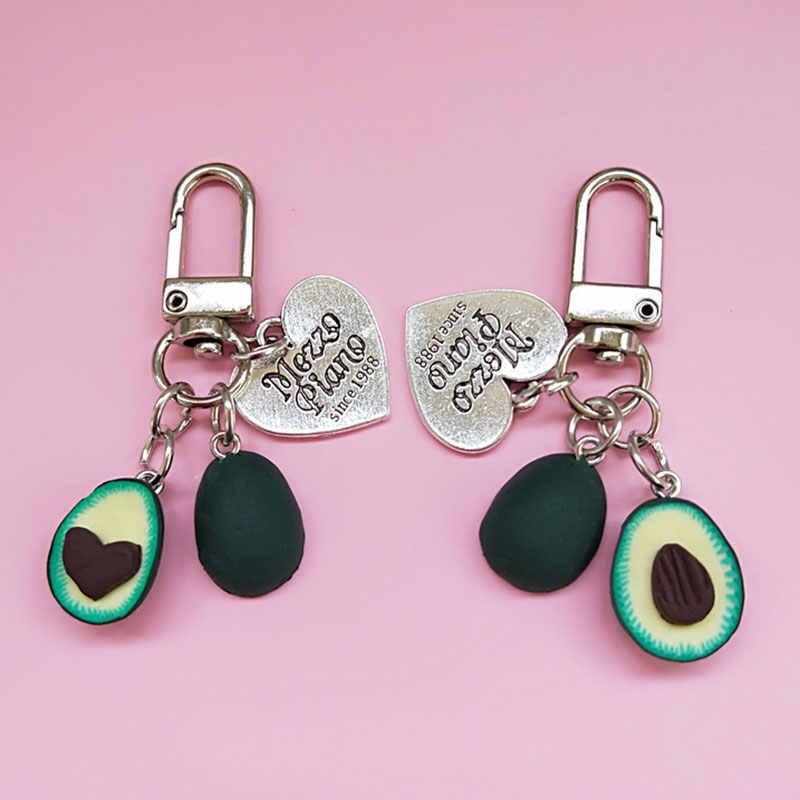 Sevimli yaratıcı avokado dolması peluş oyuncak anahtarlık karikatür yaratıcı PVC yumuşak avokado sırt çantası anahtarlık avokado oyuncaklar hediyeler kız