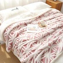 クリスマスギフト3Dジャカード両面スロー毛布厚く暖かいシェルパ毛布冬のシーツのベッドカバー