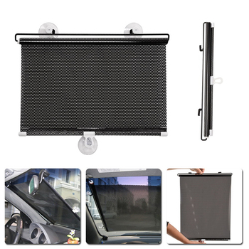 Car Window Sunshade Roller Blinds Screen Protector Auto Window Solar Protection Curtain Sun ShadeVisor Shield Cover Mesh image
