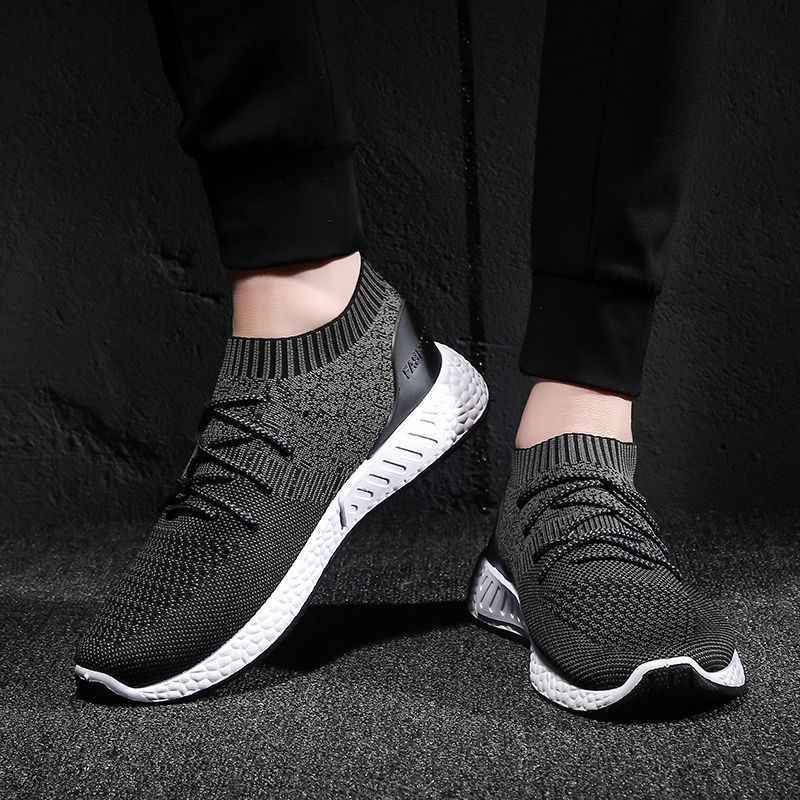 Litthing örgü erkek vulkanize ayakkabı yeni spor ayakkabı nefes rahat 2019 erkek hava Mesh bağcıklı ayakkabı Tenis bahar yetişkin eğitmen
