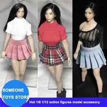В наличии 1/12 весы Женская обувь белого, красного и черного цветов рубашка Плиссированное Платье для T01 T03 TBLeague экшен-фигурки куклы