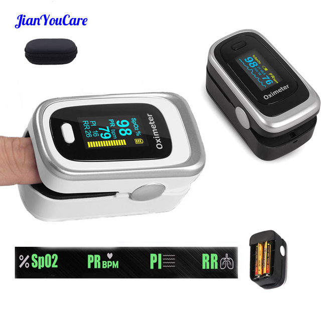 Finger Pulse Fingertip Oled Oximeter SPO2 PR PI RR Blood Oxygen With Respiratory Rate Oximetro De Pulsioximetro Dedo and case