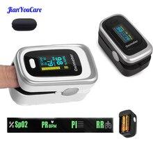 Пульсоксиметр на палец, прибор с Oled экраном, SPO2, PR, PI, RR, для измерения уровня кислорода в крови и дыхания