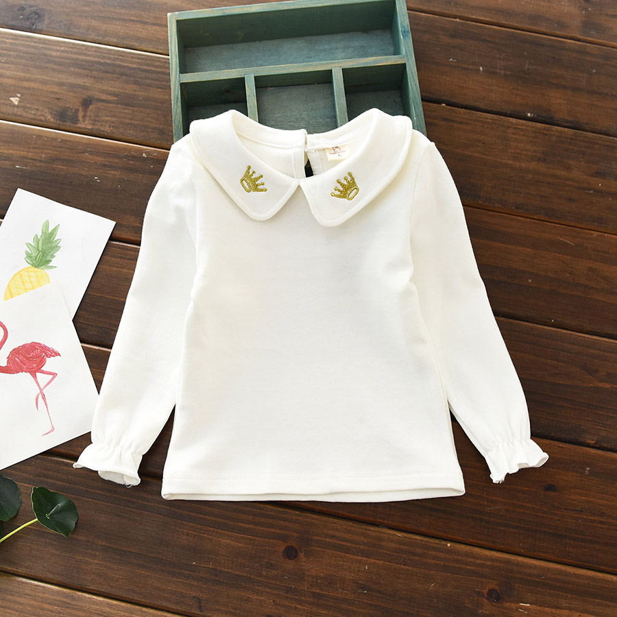 2019 Spring Autumn Lace Baby Toddler Girls   Blouse   Cotton Embroidery Long Sleeve School Girl   Shirt   Kids Tops Children's Clothes
